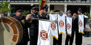 Herald Trumpets, Vancouver Fire and Rescue Services Band, performing for an official City of Vancouver event, May 2010.