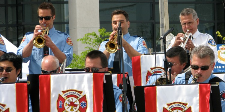 Trumpet and saxophone sections, Vancouver Fire and Rescue Services Band, at an official City of Vancouver event, May 2010.